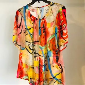 Jorli bright abstract blouse size 10 NWT